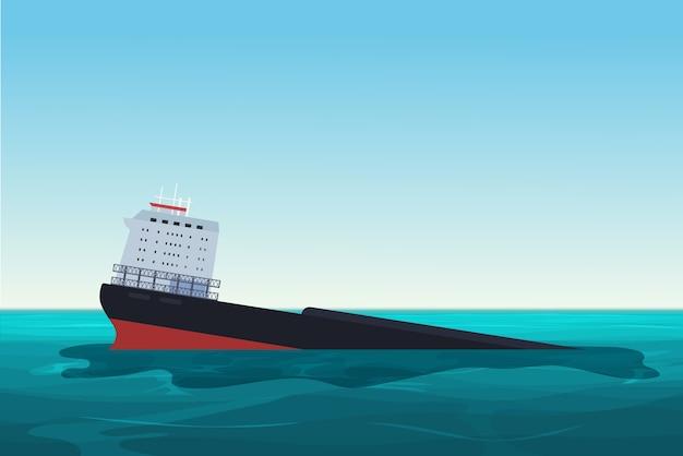 Затонувшее нефтеналивное судно. авария с разливом нефти. иллюстрация концепции загрязнения окружающей среды Premium векторы