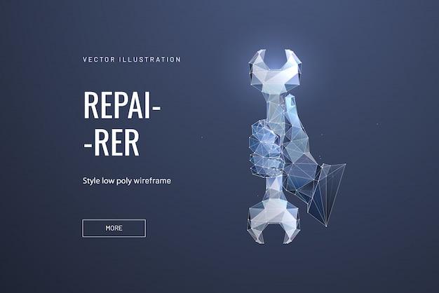 Гаечный ключ или гаечный ключ в руке. концепция ремонта, обслуживания или настройки Premium векторы