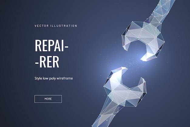 Ключ гаечный или многоугольный. концепция ремонта, обслуживания или настройки Premium векторы