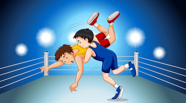 Wrestlers fighting on the fighting ring Free Vector
