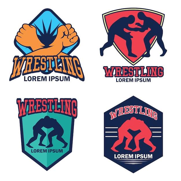 Wrestling logo Premium Vector