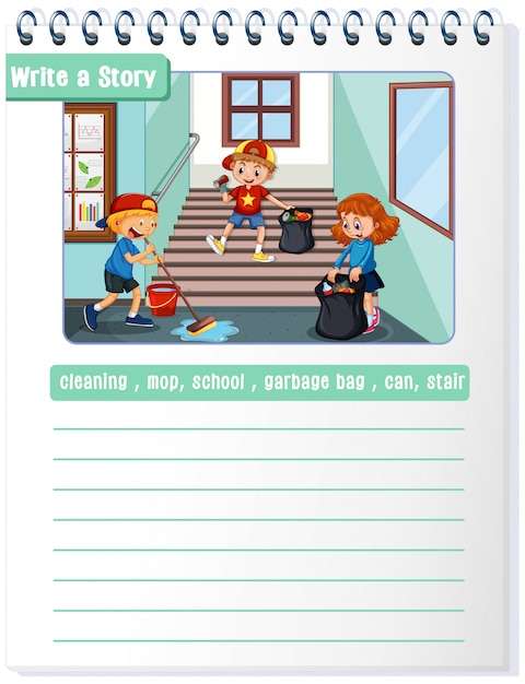 Write a cleaning story illustration copyspace Free Vector