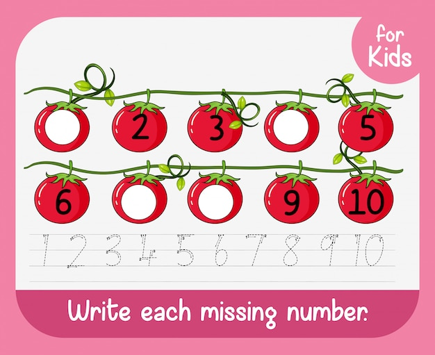Write each missing number Free Vector