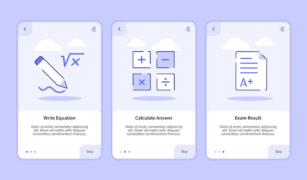 Write equation calculate answer exam result onboarding screen Premium Vector