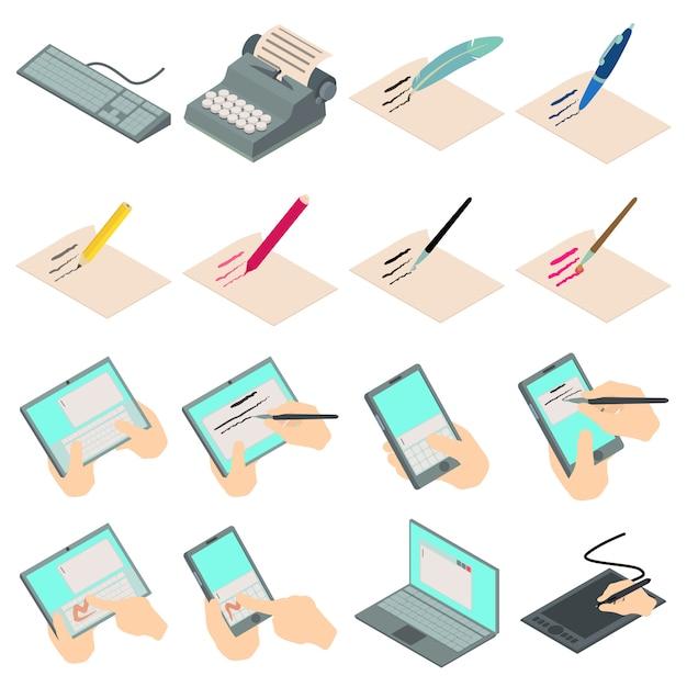 Write letter icons set. isometric illustration of 16 write letter vector icons for web Premium Vector