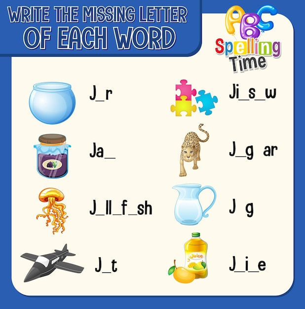 Write the missing letter of each word worksheet for children Free Vector