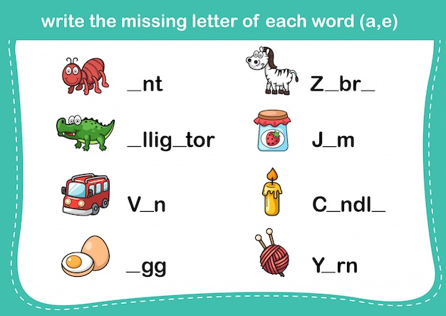 Write the missing letter of each word Premium Vector
