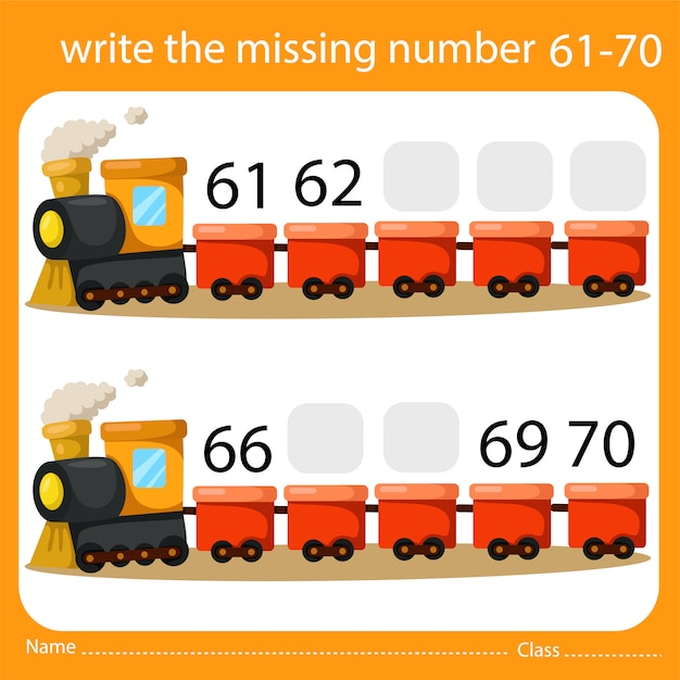 Write the missing number train seven Premium Vector