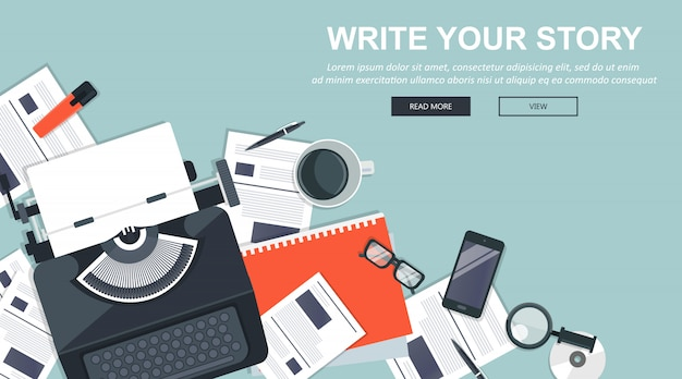 Write your story business banner for journalism and blogging Premium Vector