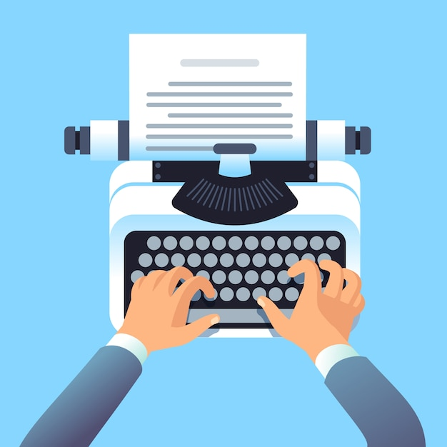 Writer author write article with typewriter. mans hands type story for paper book or blog. blogging and copywriting concept Premium Vector
