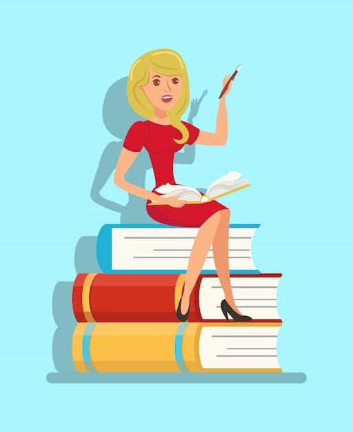 Writer, teacher sitting on book stack illustration Premium Vector