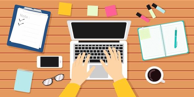 Writer workplace vector illustration. author, journalist, laptop Premium Vector