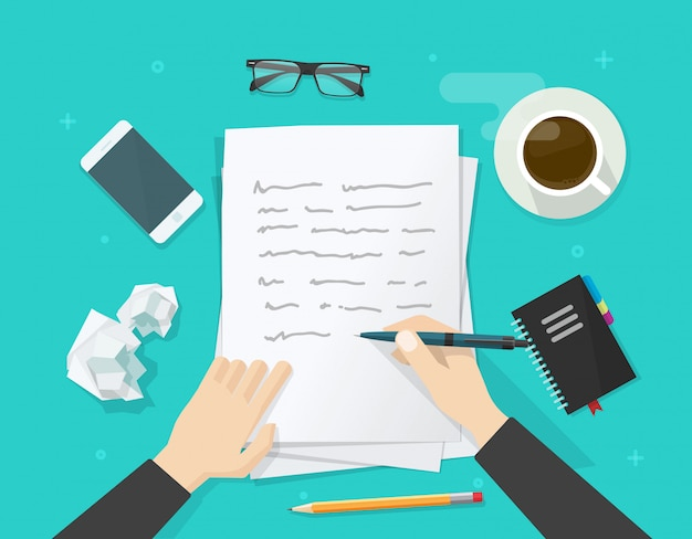 Writer writing on paper sheet Premium Vector