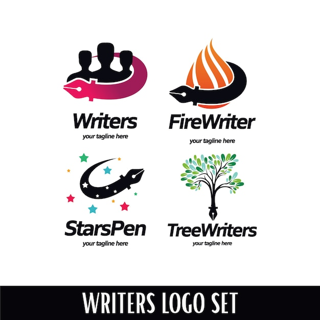 Writers logo set Premium Vector