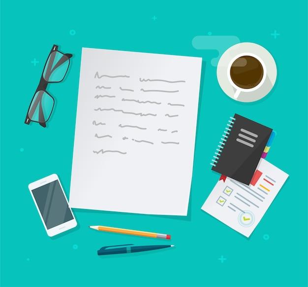 Написание создания вектора текстового контента на таблице рабочего стола образования выше, документе для сочинения, плоской планировке на рабочем месте для журналистских исследований, рабочем столе автора или редактора с очками, ручкой, изображением чашки кофе Premium векторы