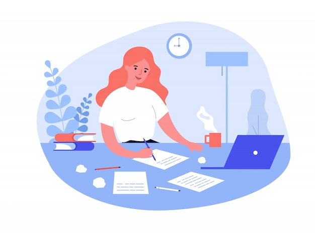 Writing job concept Premium Vector