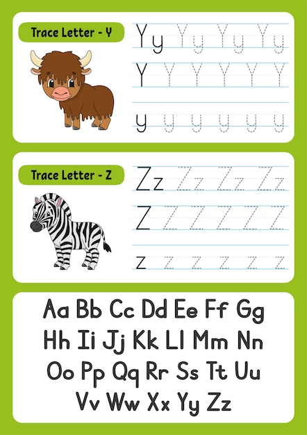 Writing letters with animals for kids Premium Vector