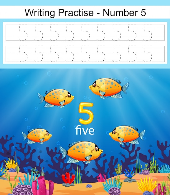 The writing practices number 5 with fish in deep blue sea Premium Vector