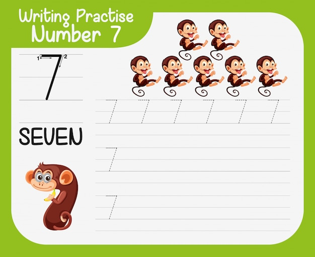 Writing practise number seven Free Vector