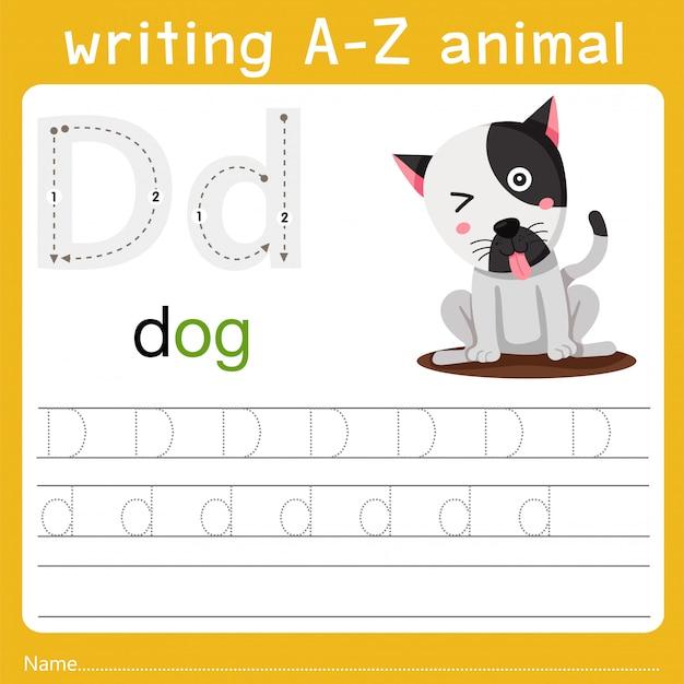 Writing a-z animal d Premium Vector