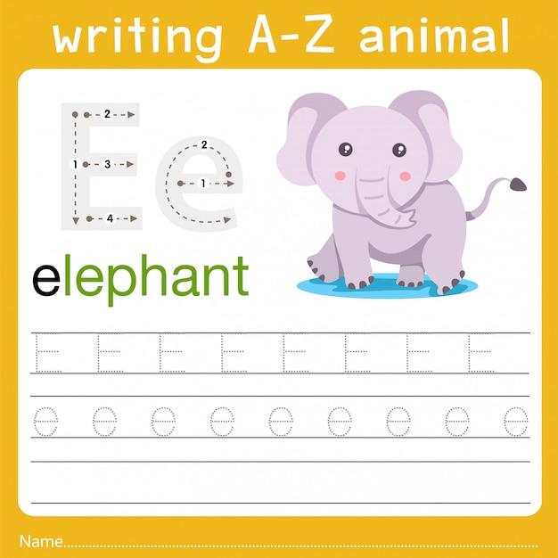 Writing a-z animal e Premium Vector