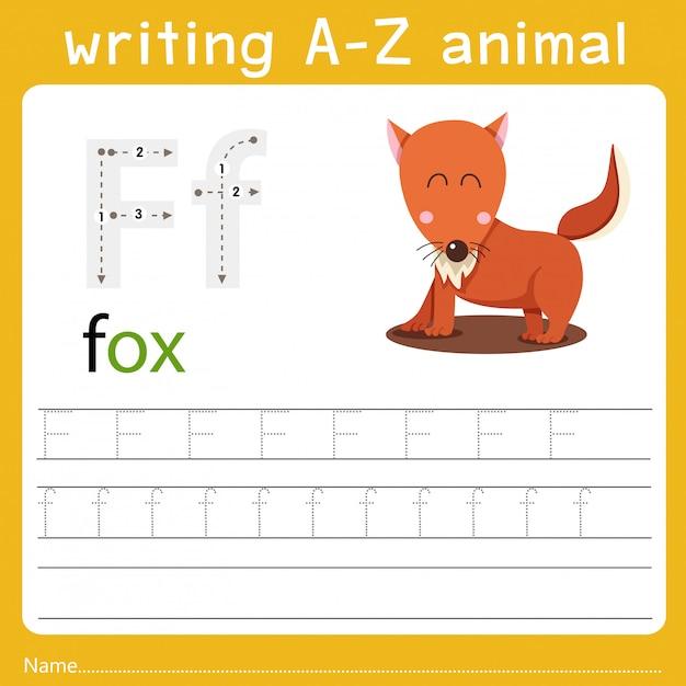 Writing a-z animal f Premium Vector