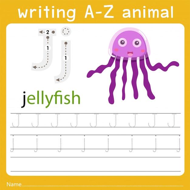 Writing a-z animal j Premium Vector