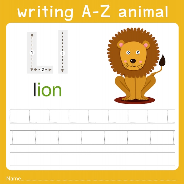 Writing a-z animal l Premium Vector