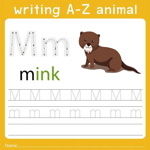 Writing a-z animal m Premium Vector