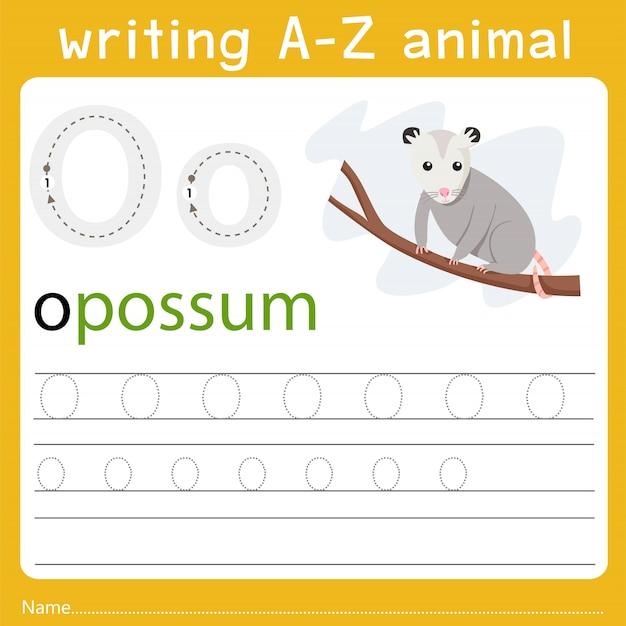 Writing a-z animal o Premium Vector