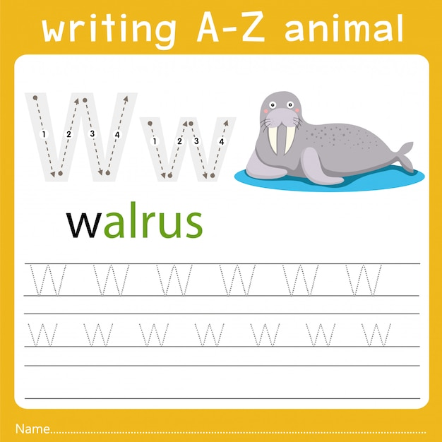 Writing a-z animal w Premium Vector