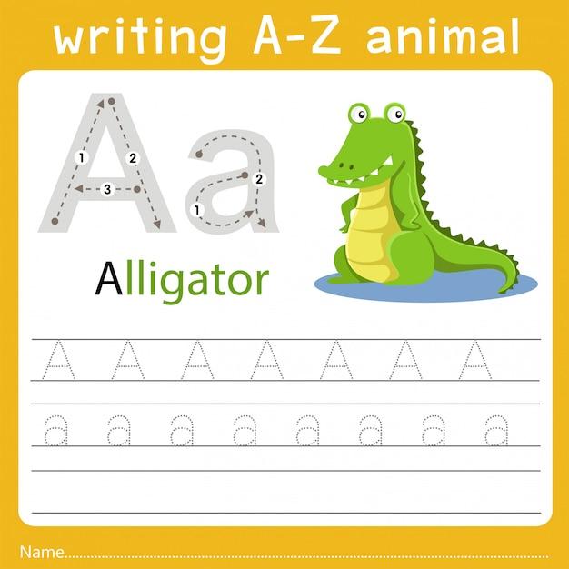 Writing a-z animal a Premium Vector