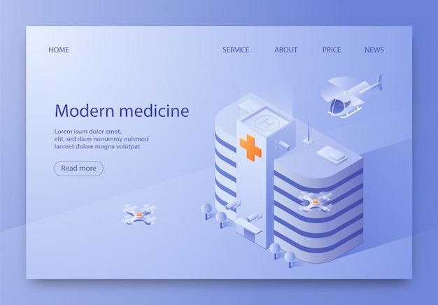 Written modern medicine illustration isometric. Premium Vector
