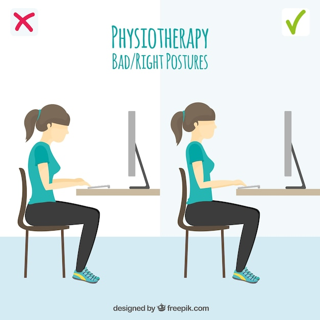Wrong And Right Posture In Front Of The Computer Vector