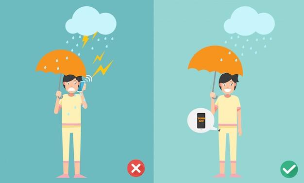 間違った正しい方法。イラストを雨が降っているときに電話をかけないでください。 Premiumベクター