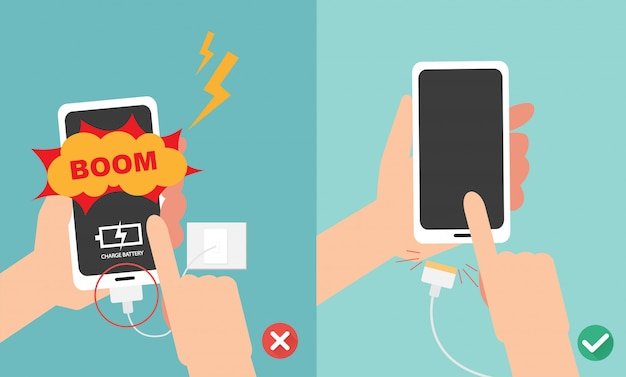 배터리 일러스트를 충전 할 때 스마트 폰을 재생하지 마십시오. 프리미엄 벡터