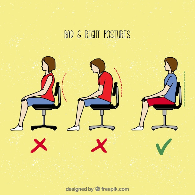 Wrong and correct ways to sit Free Vector