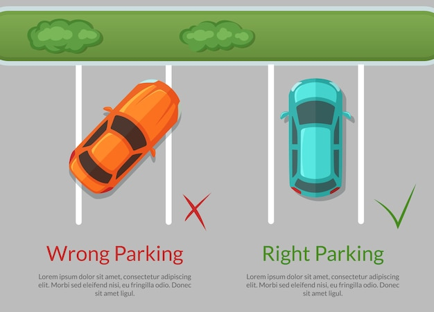 Wrong and right parking cars Premium Vector