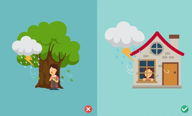 Wrong and right way do not be under the big tree Premium Vector