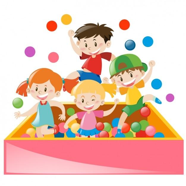 Дети играют wth шары Бесплатные векторы