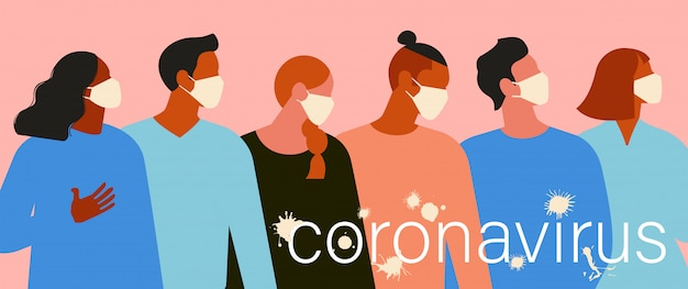 Wuhan novel coronavirus 2019 ncov, women and men with medical face mask. Premium Vector
