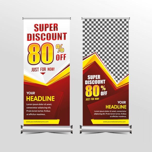 Свернутый или стоящий шаблон x-banner супер скидка на продажу Premium векторы