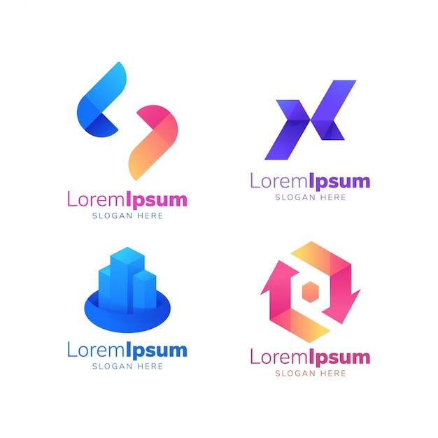 X logo цветной логотип Premium векторы