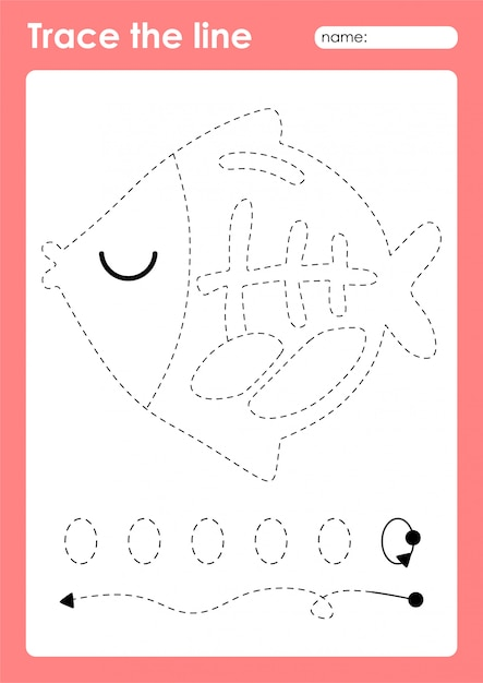 Premium Vector X-ray Fish - Tracing Lines Preschool Worksheet For Kids  For Practicing Fine Motor Skills