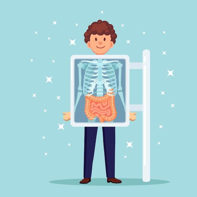 신체 스캔 용 X-ray 기계. 가슴 뼈의 뢴트겐. 내장, 내장의 초음파 프리미엄 벡터