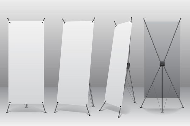 X stand banners illustration Free Vector