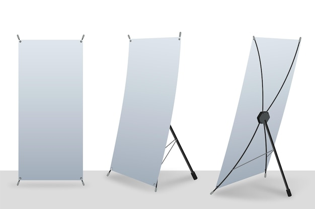 X stand roll up banners Premium Vector