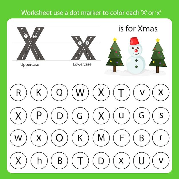 Рабочий лист использует точечный маркер, чтобы закрасить каждый x Premium векторы