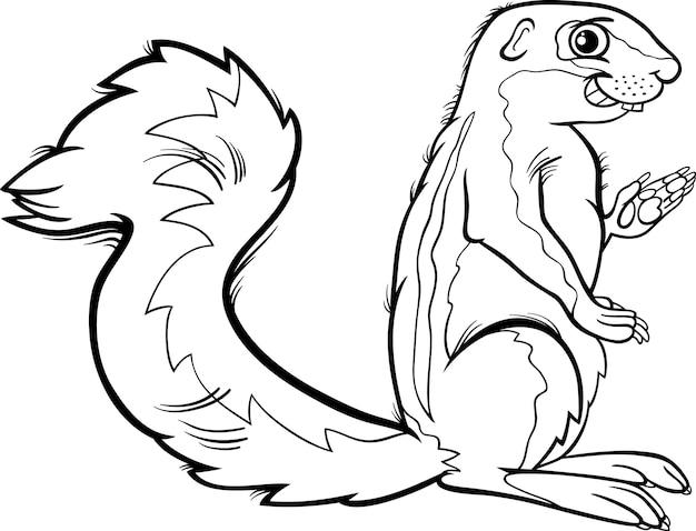 Xerus animal cartoon coloring page Premium Vector
