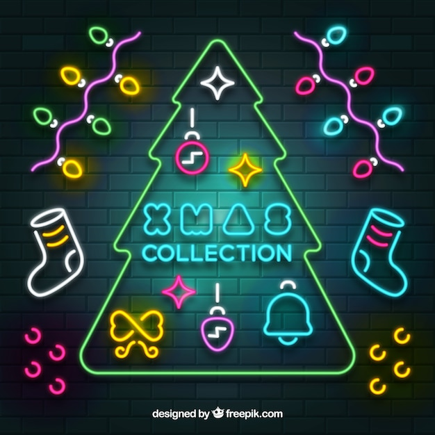 Xmas collection of neon elements Free Vector